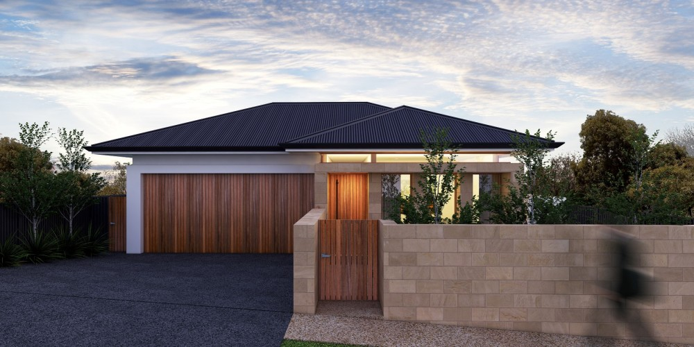 The Adelaide new custom home. Evening exterior view 01