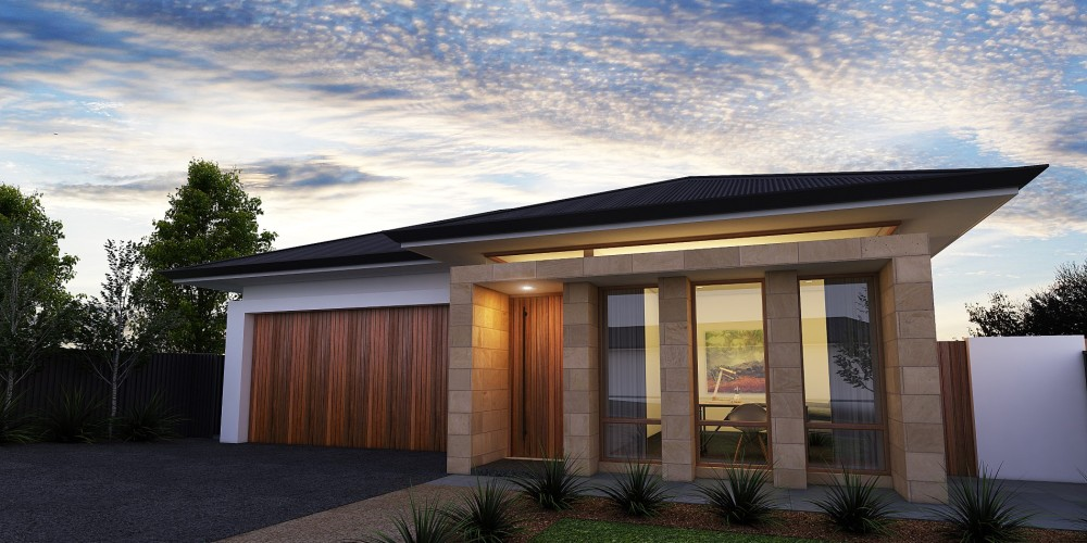 The Adelaide new custom home. Evening exterior view 02